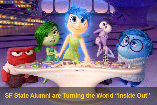 "Still from from Pixar movie ""Inside Out"" with five main characters at control board"